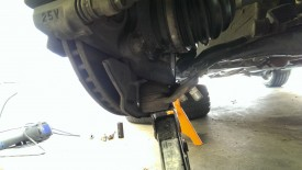Using the spare tire scissor jack helped angling it to try to get the castle nut off