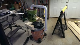 Completed dust separator mounted to shop vac