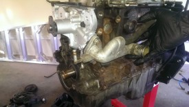Water pump inlet line reinstalled