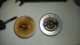 "Kit thermostat drilled to 1/8"" on left, 1/16"" on right"