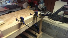 Ready to mortise with the pieces clamped together and to the bench, and the edge guide set
