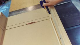Cutting the dowel rod down to pieces