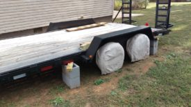 Trailer resting on blocks