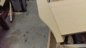 Cutting a curve on the bandsaw to use as a template