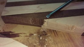 Chiseling the damaged areas square