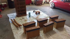The pieces after a coat of stain