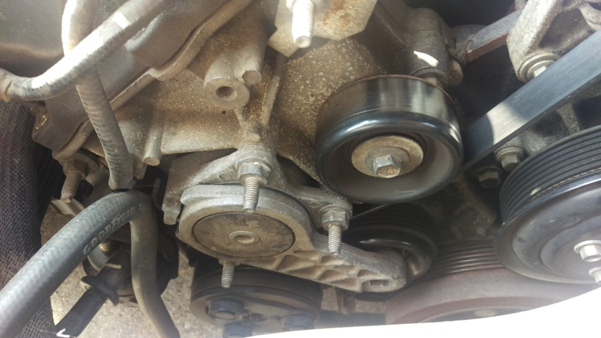 96 04 Mustang Belt Tensioner Replacement Did It Myself 2002 Ford Fuel Filter Connector The Area