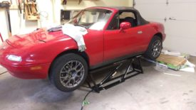 "The Miata at max height with 2"" blocks"