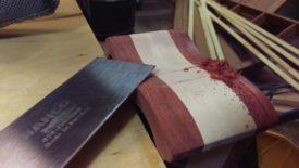 Cut down with the cabinet scraper