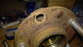 The splines in the wheel hub sheared off