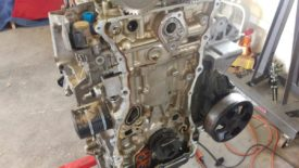 Engine with timing chain removed