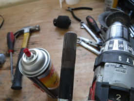 The shaft after cleaning with a wire brush and brake cleaner