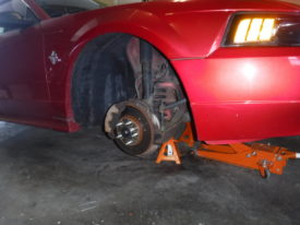 Front passenger tire removed